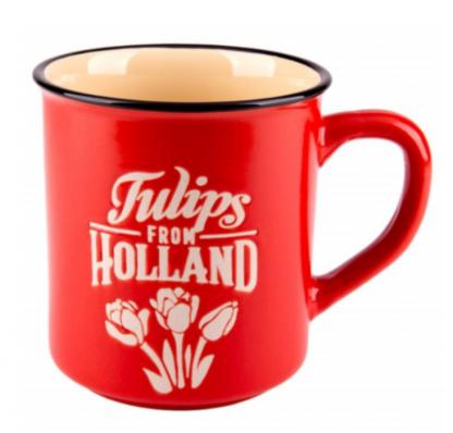 Mok Holland rood in een zacht rode kleur met tulpen