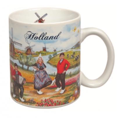 Mok met Hollands Landschap tafereel