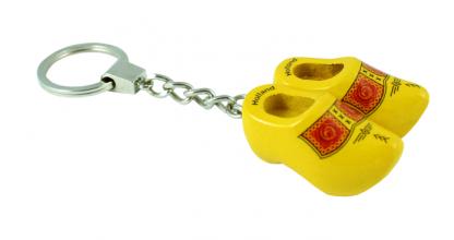 Sleutelhanger 2 klompjes geel bies