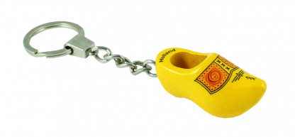 Sleutelhanger 1 klompje geel met bies.