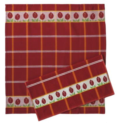 Keukendoek rood tulpen print