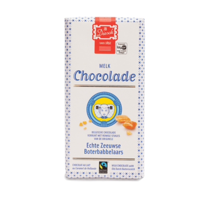 Chocolade reep melk met stukjes babbelaar