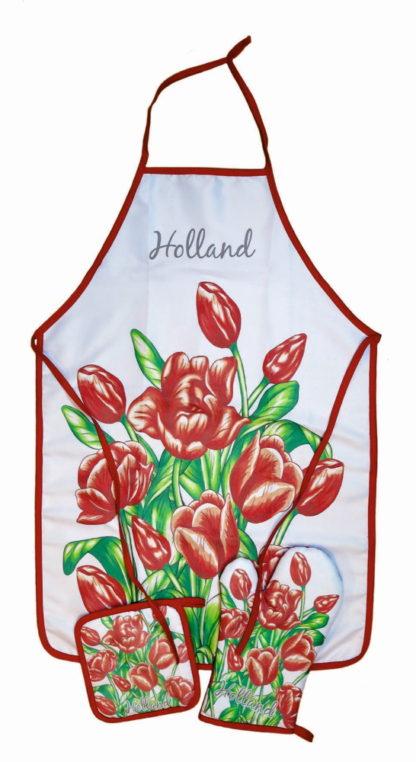 Keukenset tulp rood ovenwant pannenlap en schort