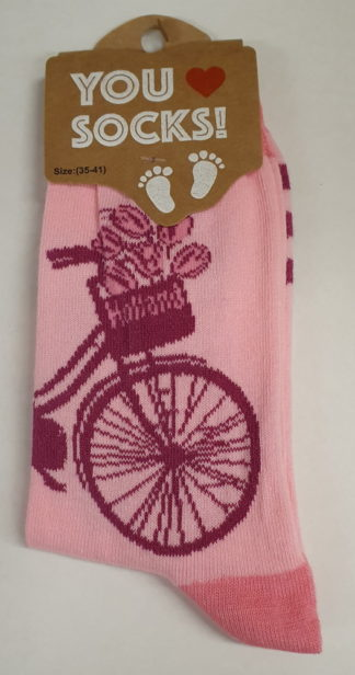 Roze met fiets en tulp