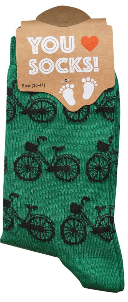 Sokken groen met zwarte fietsjes