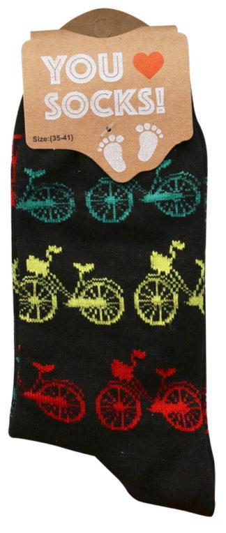 Sokken zwart met gekleurde fietsjes