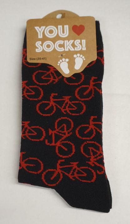 Sokken zwart met rode fietsjes