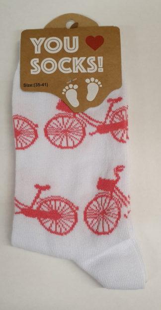 Witte sokken roze fietsen