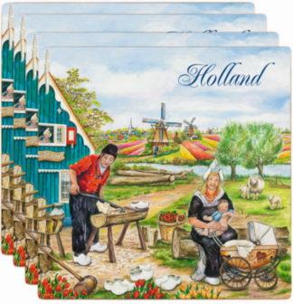 Onderzetters Holland klompenmaker steen