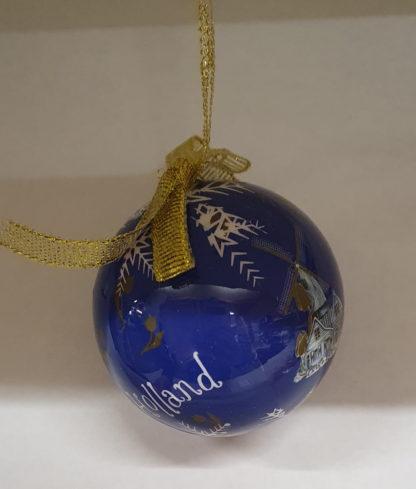 Kleine kerstbal blauw Holland molen