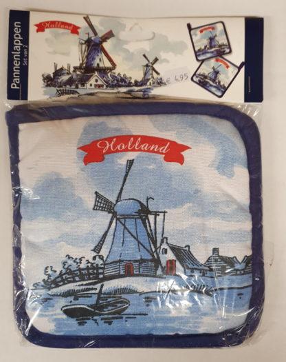 Pannenlap molen Holland blauw 2 stuks